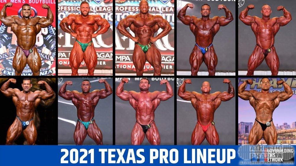 Список бодибилдеров, участники турнира Texas Pro-2021